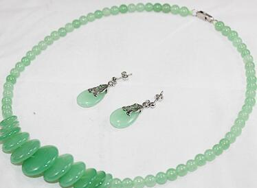 """Free Shipping wholesale elegant 8mm 18"""" light green beads and coins necklace & stud earrings jewelry set 002"""