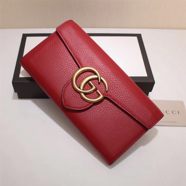 Top Quality Luxury Celebrity design Letter Metal Buckle Two fold wallet Cards Pack Real Cowhide Leather Man Woman 400586 Long Purse Clutch