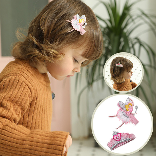 20pcs/lot 2018 New Baby Embroidered Crown Fairy Girls Hair clips Kids Summer Style Hair Clips Cartoon Crown Cute Kids Hairpins