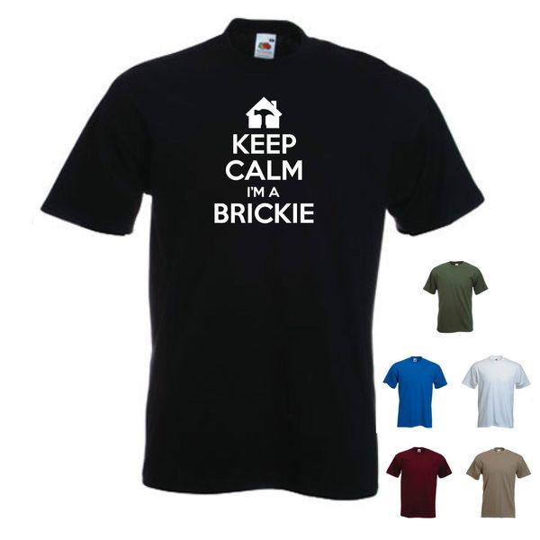 Mens T Shirts Keep Calm Im A Brickie Logo Funny Builder Bricklayer Birthday