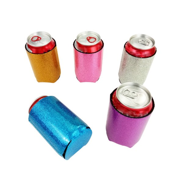 Glitter Mermaid Can Cooler Sleeves Pieghevole in neoprene Beverage Coolers Holder con Beer Cup Bottle Cover Case Storage Organizzazione HH7-1272