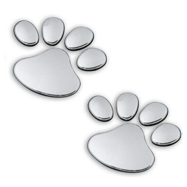 2pcs/ Lot Stylish Silver Funny Bear Paw Pet Animal Footprint Emblem 3D Cartoon Car Stickers Decor Auto Accessories wholesale