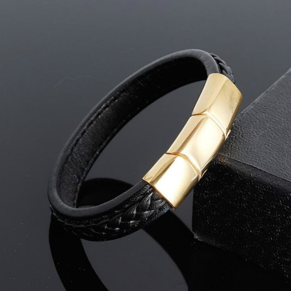 Gold titanium steel stainless steel three-section buckle leather hand-made bracelet leather bracelet men's jewelry