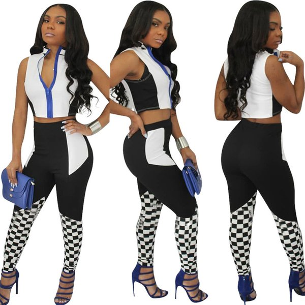 2018 Fashion 2 Two Piece Women Set Racing Plaid Printed Crop Tops And Full Length Pants Sporting Suit Summer Women's Tracksuit