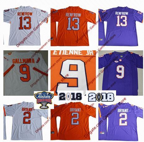 2019 Youth 9 Travis Etienne Jr 13 Hunter Renfrow Bryant Clemson Tigers Jerseys American Ncaa College Football Jerseys Embroidery Stitched Jersey From