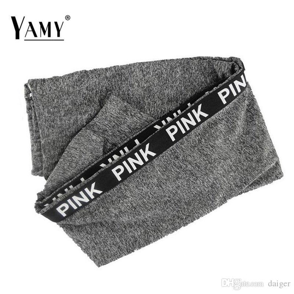Wholesale- Winter High Waist Fitness Leggings Pink Letter Print Fashion Fitness Workout Leggings Elastic Pants Plus Size Activewear