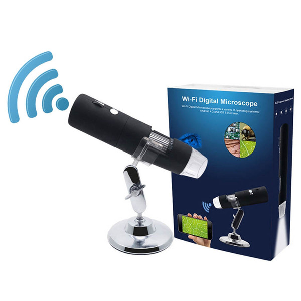 Digital WiFi Microscope HD 2MP 1000x Magnifier Endoscopio Camera 8 LED con supporto in metallo per IOS e Tablet Android