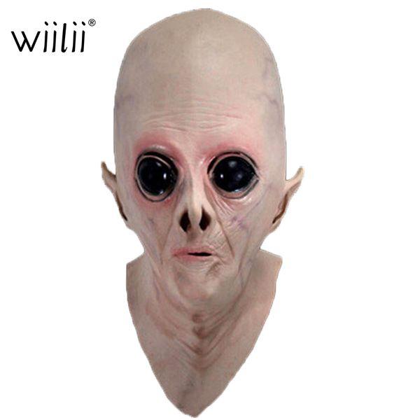 Wiilii Halloween Mask Alien Horror Scary Terror Headgear UFO Headset Science Fiction Movie Theme Prank Party Tools