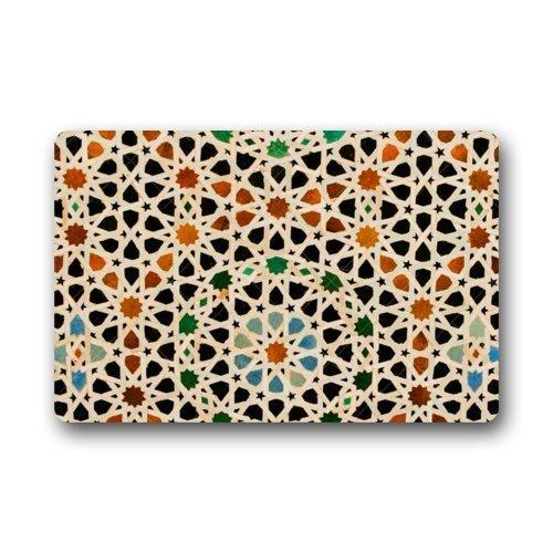 Memory Home Marocain Treillis Treillis Quatrefoil Paillasson Tissu non tissé Tapis de sol extérieur pour intérieur Tapis antidérapant