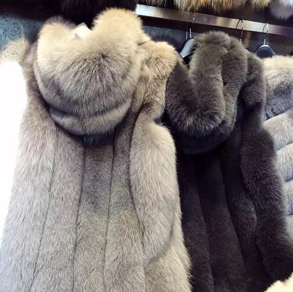 Womens Faux fox Fur Warm Vest Jacket Top Winterwear Ladies winter Long Waistcoat with hood Vest Coats Cape sleeveless Jacket Coat WT43
