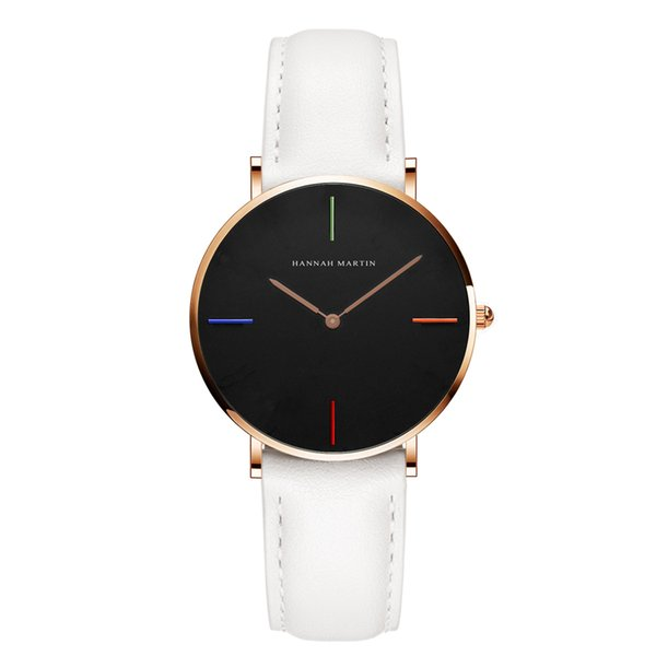 2018 Simple Style Student Ladies Waterproof Quartz Watch Auto Date Quartz Battery Women's Leather Belt Watches