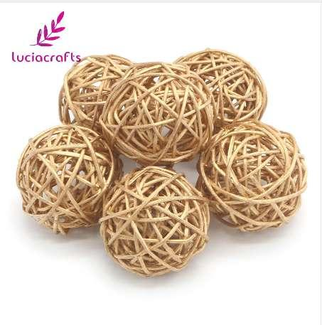Lucia Crafts 3cm/5cm 6pcs Gold Vintage Wicker Cane Ball Christmas Home Gardens Patio Ornament DIY Decoration Materials 024006