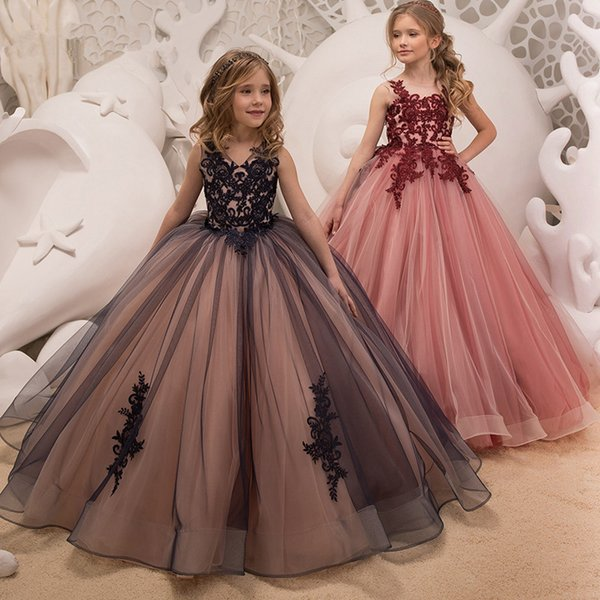 Ball Gown Flower Girl Dresses For Weddings Vestidos Daminha 2018 Kids Evening Pageant Gowns First Communion Dresses For Girls