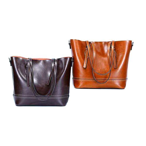 Vintage cowhide handbag single-shoulder bucket bag ladies trendy tote bag