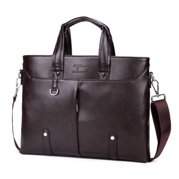 Good Quality 14 Inch Computer Men Briefcase Bags Brand Kangaroo Men Leather Handbag Vintage Shoulder Bag Male Messenger Bags