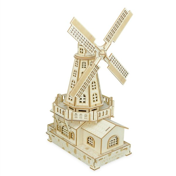 top popular Nulong Laser Cutting 3D Wooden Puzzle 3D wood Jigsaw Puzzle Woodcraft Assembly Kit - Dutch Windmill with 127 pcs Parts 2019