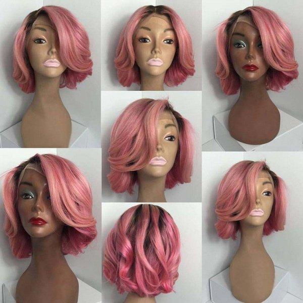 T1b Pink Ombre Short Lace Front Human Hair Bob Wigs For Black Women Cheap Two Tone Wavy Indian Virgin Hair Full Lace Wigs