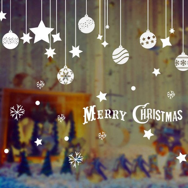 2019 New Year Navidad Christmas Ball Glass Window Sticker Merry Christmas Decorations for Home Snowflake Can Be Removed Stickers Y18102909