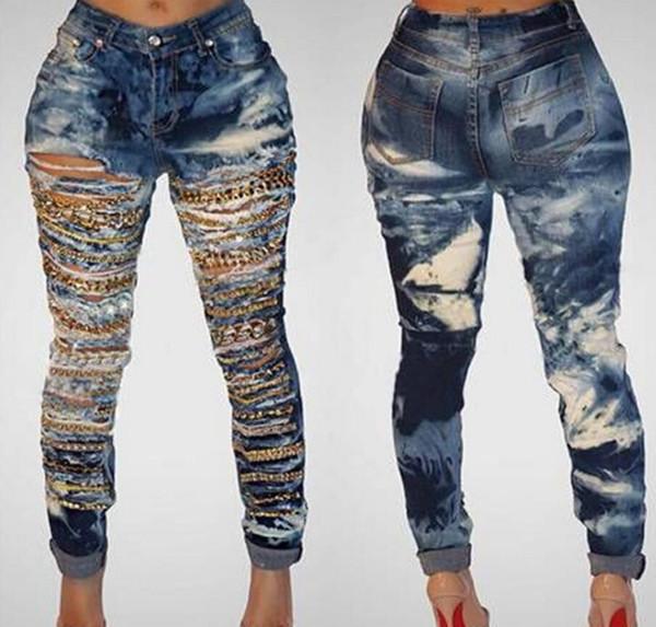 firststop998 / Cadena de cueva, pantalones rotos desgastados para mujeres, lavados, jeans ajustados, mujer, denim, más tamaño, cintura alta, pantalones de mujer d