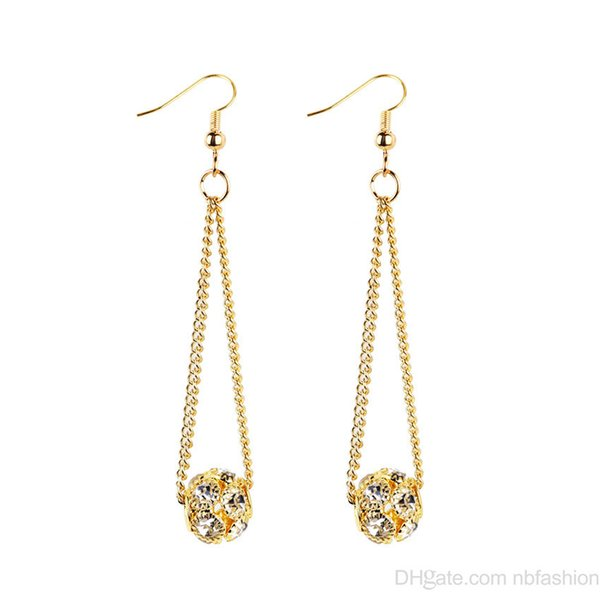 New European Fashion Ornaments Personality Exaggeration Geometry Chain Drop Ball Earrings