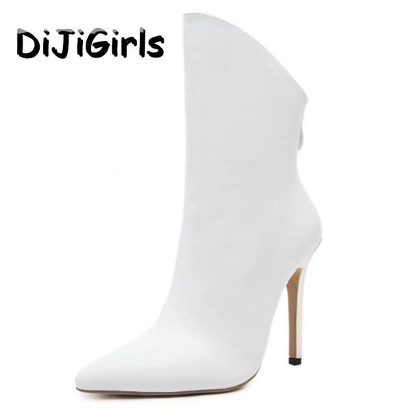 DiJiGirls Yeni Kadın Ayak Bileği Çizmeler Roma Yüksek Topuklu Seksi Stiletto Patik Moda Marka Tasarım Bayanlar Parti Ayakkabı Kadın Beyaz Siyah