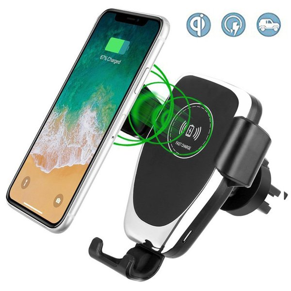 Gravity auto car phone holder mount qi wireless charger one hand operation compatible for iphone x 8 Samsung all qi enabled phones