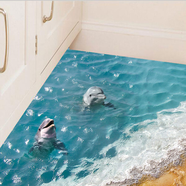 1X 3D Dimensional Blue Sea Water Waterproof Floor Stickers Ground Bathroom  Stickers Background Wall Swimming Pool Wall Sticker Create Wall Decals ...