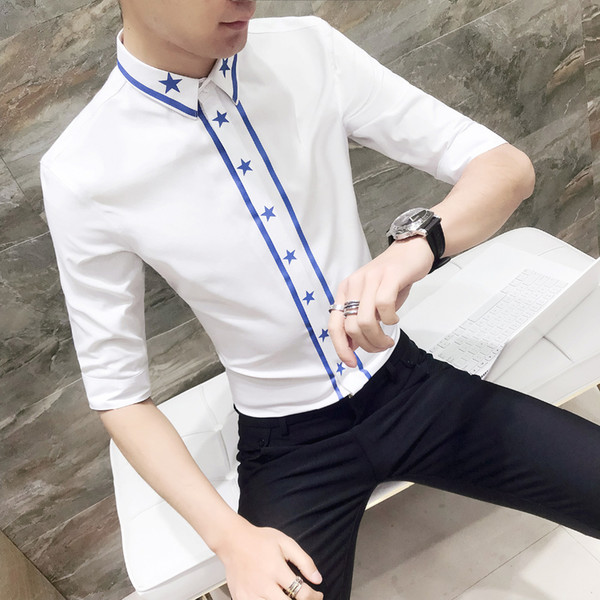Spring Summer Men Shirt Slim Fit Casual Tuxedo Shirt Men Half Sleeve Star Print Night Club Party Dress Shirts For Clothes