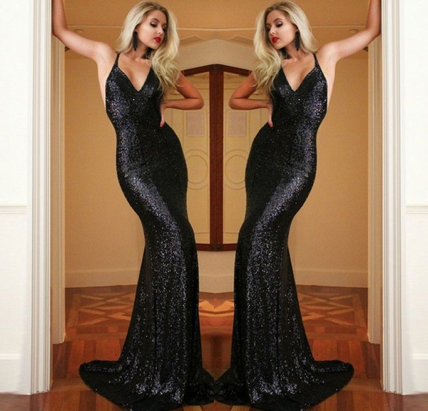 Fashion Black Long Evening Dresses Sequined Mermaid Evening Gowns Spaghetti Sweetheart Floor Length Backless Special Occasion Prom Dresses