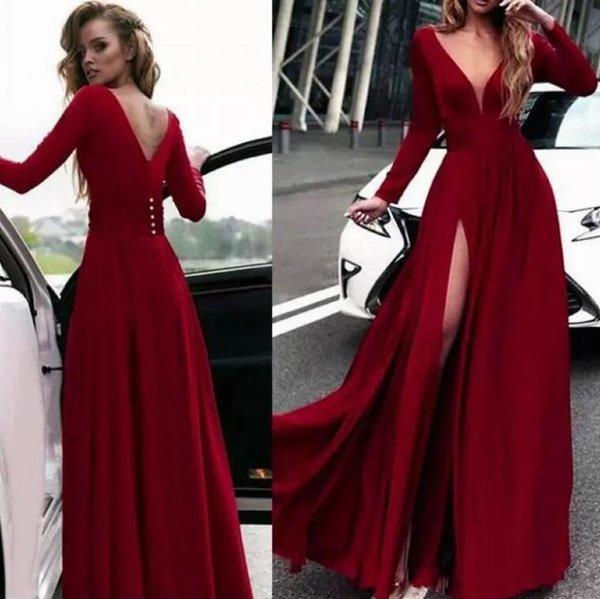 Dark Red Deep V neck Long Sleeves A-line Evening Dresses Vintage Long Side Split Formal Evening Prom Gowns Cheap Long Sleeves Party Wear