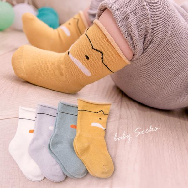 4 Pairs yenidoğan bebek socksCotton bahar ve yaz ince çorap karikatür tilki bebek tüp çorap içinde çocuk 0-2 yaşında