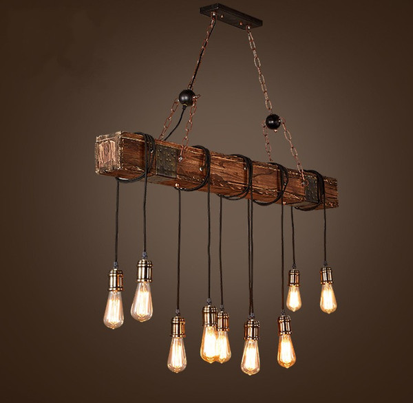 outlet store d0067 7185d Loft Style Creative Wooden Droplight Edison Vintage Pendant Light Fixtures  For Dining Room Hanging Lamp Indoor Lighting LLFA Hanging Ceiling Lamp ...