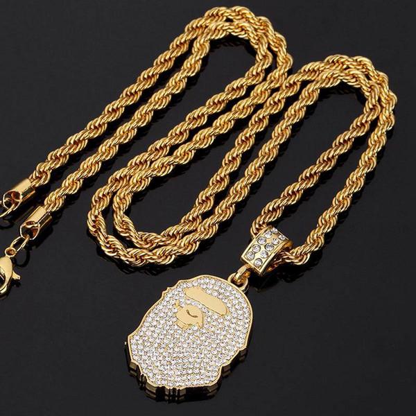 Обезьяна глава ожерелье мужская золотое ожерелье с бриллиантом уличной моды цепи хип-хоп ожерелье рок аксессуары 2018 новые
