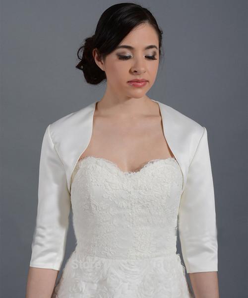 3/4 Sleeve Satin Wedding Jacket Bridal Jacket White/Gray Jacket Bridal Coat Wraps Bolero Women Bolero Mariage New 2018 Custom Made