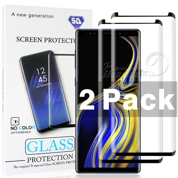 Confezione da 2 pezzi Custodia compatibile per Samsung Galaxy S9 S8 Plus Note 9 8 Protezione per schermo in vetro temperato trasparente HD S6 Edge 3D Curve Edge HD con pacchetto