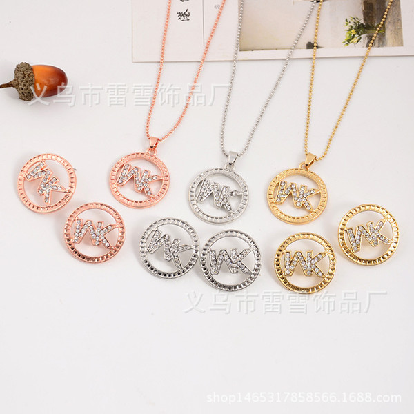 European and American foreign trade hot fashion simple high-grade diamond letters two sets of necklace earrings jewelry lx