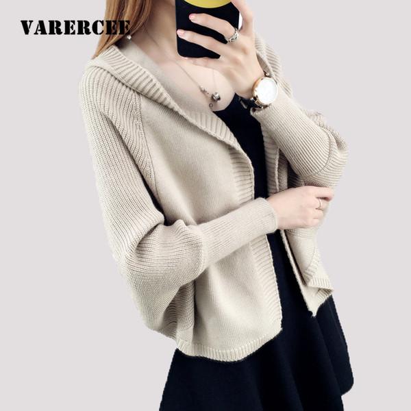 f7d968af09 VARERCEE Knitted sweaters cardigans women 2018 Autumn Winter wool blend  Knitwear Female Batwing Sleeve Hooded Jumper