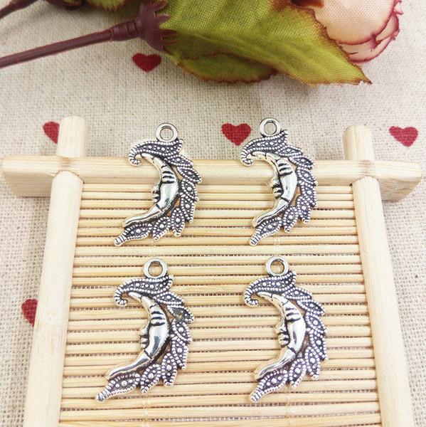 Hot Sale 100pcs Antique Silver Moon Face Charm Pendant Necklace&Bracelet Accessories Fashion Women Men Jewelry Wholesale Unique Gift