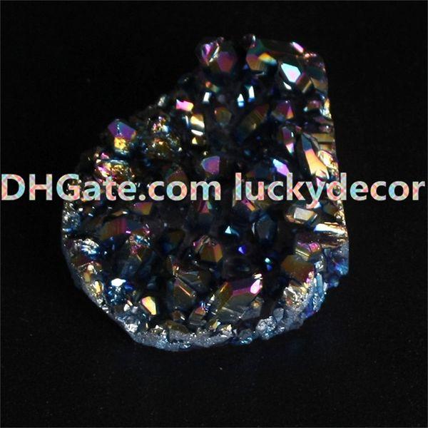 1Pc 35mm-50mm Random Size Irregular Broken Tips Rainbow Aura Titanium Coated Rock Quartz Point Cluster Drusy Geode Stone Specimen Figurine