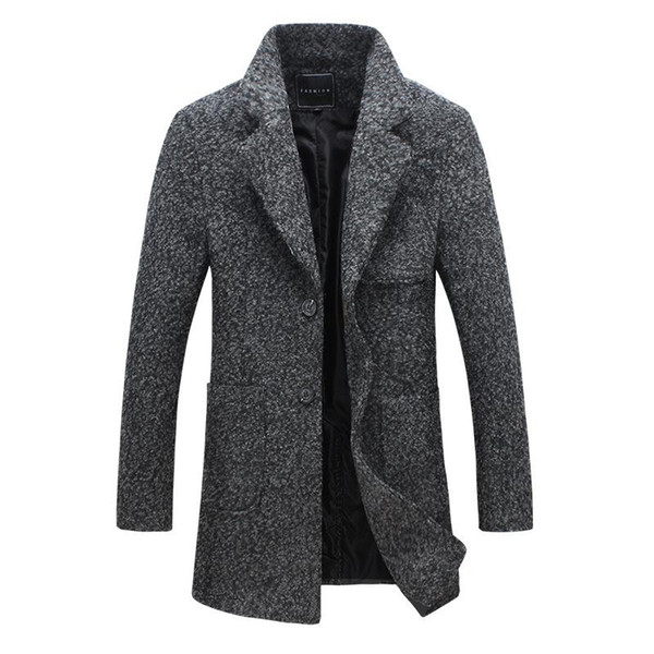 2018 2018 New Long Trench Coat Men Brand Clothing Winter Fashion Mens  Overcoat 40% Wool Thick Grey Trench Coat Male Jacket Plus M 5xl From  Welisy,