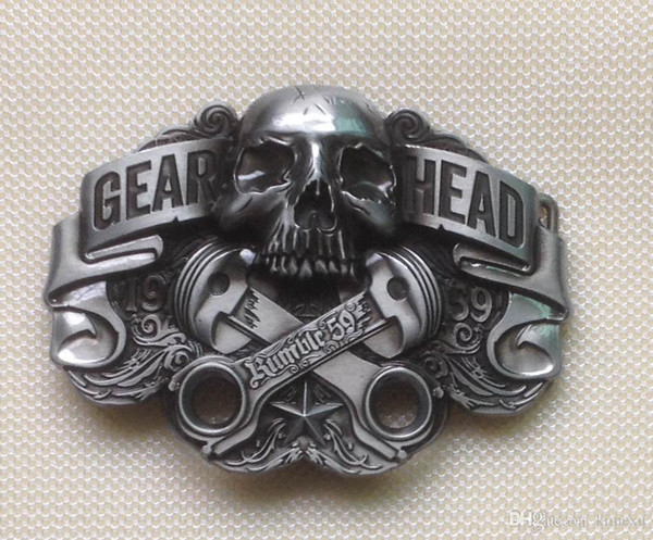 GEAR HEAD Skull men's Metal belt buckle SW-BY217 suitable for 4cm wideth belt with continous stock free shipping