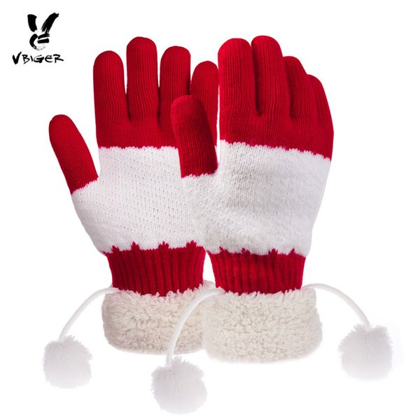 Vbiger Christmas Winter Warm Knitted Gloves Thicker Full-finger Double Layers Fuzzy Lining Gloves Mittens Gift with Plush Cuffs