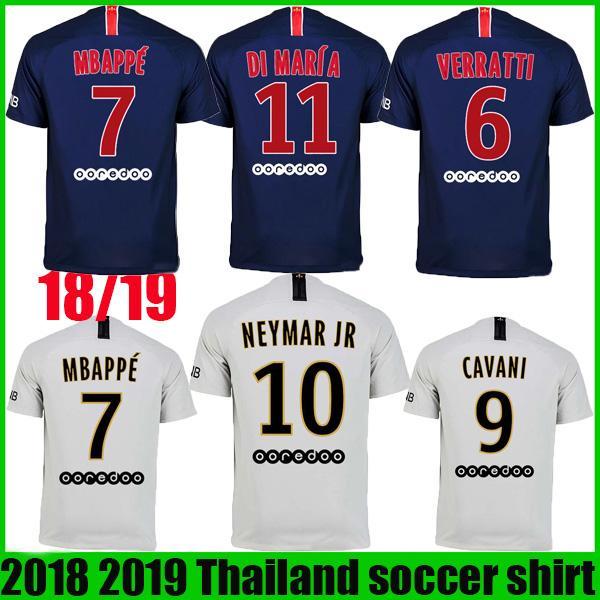 d2f16136818 2018 2019 MBAPPE DANI ALVES Home Soccer Jerseys 18 19 Away DI MARIA CAVANI  Soccer Shirt