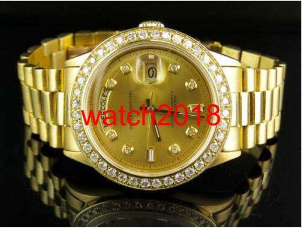Reloj de pulsera de lujo 18K para hombre Oro amarillo Presidencial Día-Fecha 41 MM Reloj de diamantes Reloj automático para hombres Relojes de los hombres de calidad superior