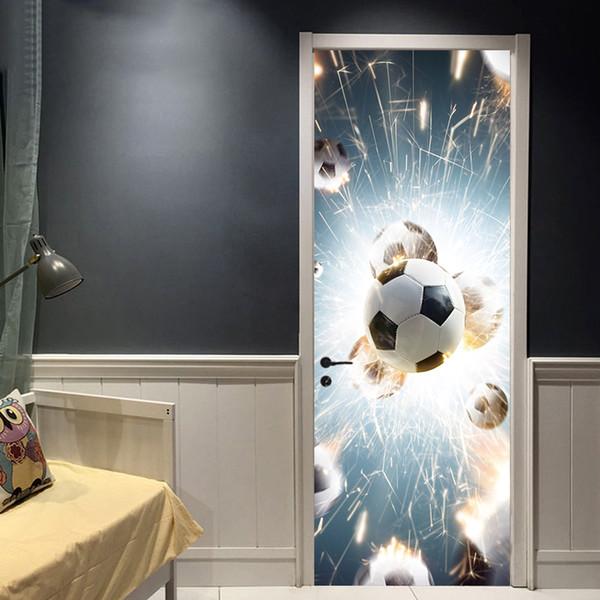 Creative Door Sticker Football Broken Glass Wateroroof Removable PVC Poster Soccer Sports Mural Boys Kids Room Home Decoration Vinyl Decal