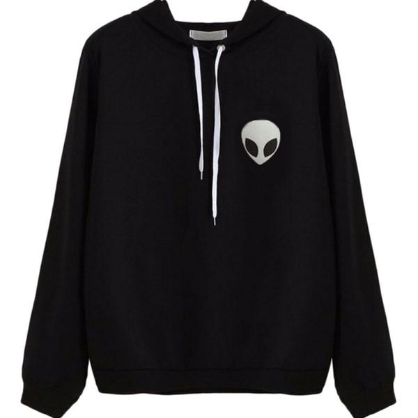 Fashion Casual Wear Hoodies Sweatshirt Women Alien Print Hooded Long Sleeve Pullovers