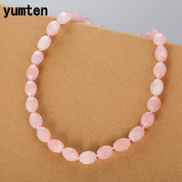 Yumten Rose Quartz Necklace Crystal Natural Bead Pink Cains Vintage Women Jewelry Party Ronda Rolo Cadena Transparente Diy Bijoux