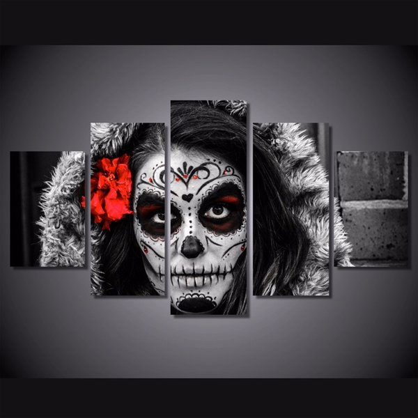 5 Pcs Framed HD Printed sugar skull day of dead Face Canvas Painting Wall Art Prints Home Decor For Linving Room Art Picture