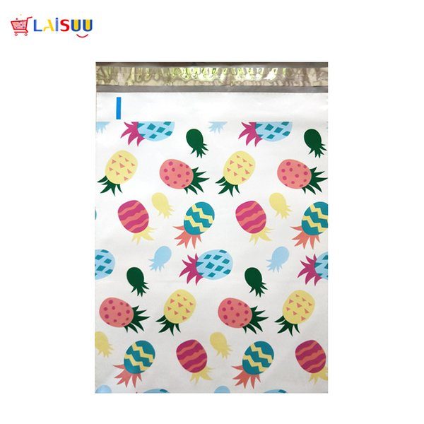 50 pcs 26x33cm 10x13 inch Pineapple White Pattern Poly Mailers Self Seal Plastic Envelope Bags / Jiffy mailing bags