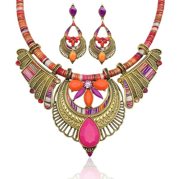 Conjunto de pendientes de collar, collar de Bohemia exageración de la vendimia Folk-custom Cadena de la cuerda Párrafo corto Collar de cristal Joyas Ropa Mujeres